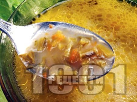 Чорба от спаначени дръжки и топено сирене - снимка на рецептата